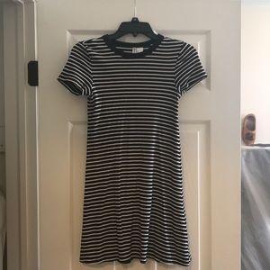 Black stripe ribbed mini dress
